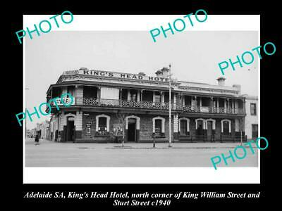 OLD 6 X 4 HISTORICAL PHOTO OF ADELAIDE SA, KINGS HEAD HOTEL, STURT St 1940