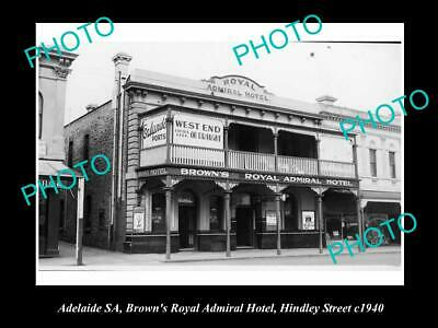 OLD 6 X 4 HISTORICAL PHOTO OF ADELAIDE SA, BROWNS ROYAL HOTEL, HINDLEY St 1940