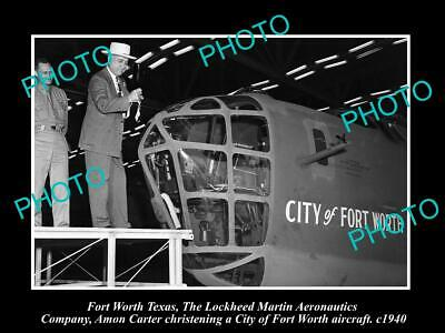 OLD 6 X 4 HISTORIC PHOTO OF FORT WORTH TEXAS, CHRISTENING THE LOCKHEED c1940