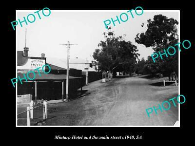 OLD 6 X 4 HISTORICAL PHOTO OF THE MINARTO HOTEL & MAIN STREET c1940s, SOUTH AUST