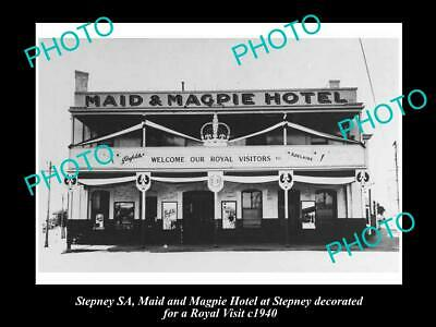 OLD 6 X 4 HISTORICAL PHOTO OF THE MAID & MAGPIE HOTEL, STEPNEY SA, c1940