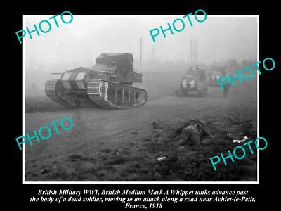 Old Postcard Size Photo Of British Army Wwi, Mark A Whippet Tank In France 1918