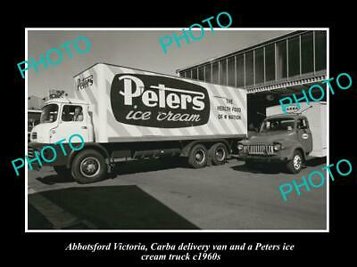OLD POSTCARD SIZE PHOTO OF ABBOTSFORD VIC PETERS ICE CREAM DELIVERY VAN c1960s
