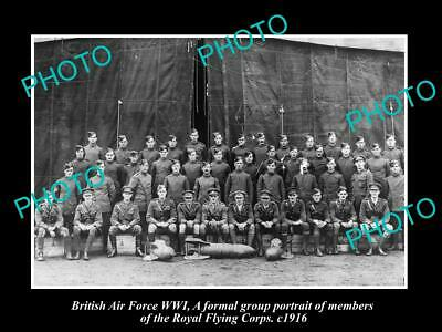 OLD POSTCARD SIZE PHOTO BRITISH AIR FORCE WWI ROYAL FLYING CORPS GROUP c1915