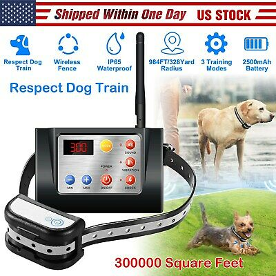 Electric Dog Fence Pet Containment System Waterproof Wireless Training Collar US