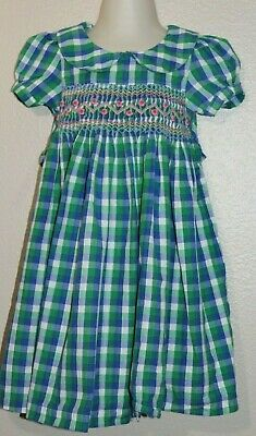 Silly Sissy Dress Sz 3T Smocked Green Blue Plaid Flowers Girls Boutique Spring