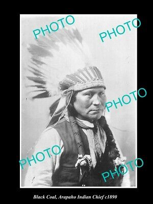 OLD 6 X 4 HISTORIC PHOTO OF ARAPAHO INDIAN CHIEF, BLACK COAL c1890