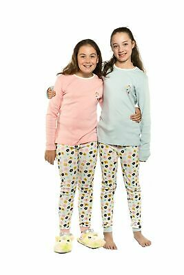Girls PJS Size 8-14 Winter 2pc Long Set Pyjamas Blue or Pink Floral Design