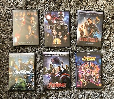 Avengers Trilogy and Iron Man Trilogy 6-DVD Bundle BRAND NEW Free Shipping