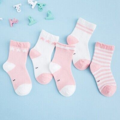 5 Pairs Baby Boy Girl Cotton Ankle Socks Newborn Infant Toddler Kids Soft Sock M
