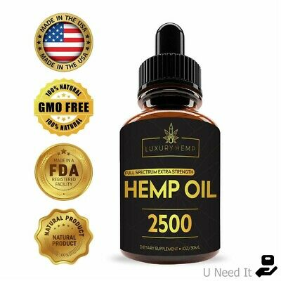 Organic Hemp Oil Drops 2500mg Reduce Stress Joint Support Sleep Aid Pain Relief
