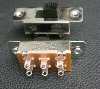 1pcs, 2-Way 3PDT 125V-250V Slide Switch ON/OFF/ON Switch