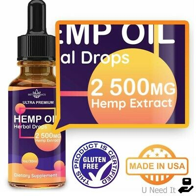 Organic Hemp Oil Drops 2500 mg Reduce Stress Joint Support Sleep Aid Pain Relief