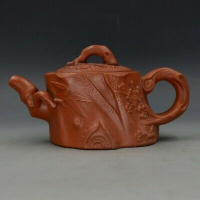 Chinese Yixing ZIsha Hand Carved Plum & Bamboo Teapot Made By