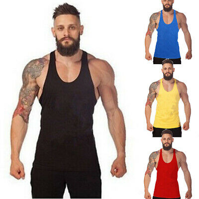 New Mens Plain Muscle Tank Singlet Raw Edge Sleeveless Top Bodybuilding Gym Lift