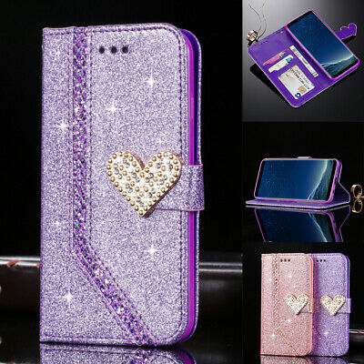 Magnetic Bling Leather Flip Case 3D Diamond Heart Wallet Card Slots Phone Cover