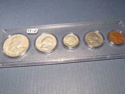 1953 D DENVER Mint 90% Silver Birth year MATCHED 5 coin set ~ circulated