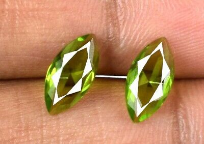 Natural Pakistan 1.55 Ct Marquise Olive Green Peridot Gemstone Pair Certified