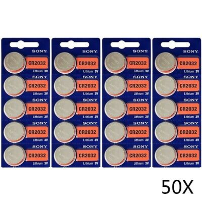 50Pcs Sony CR2032 CR 2032 3V Button Coin Cell Battery for Car Alarm and Key Fobs