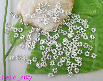 1000 pcs Silver plated Daisy spacer beads 4mm M308