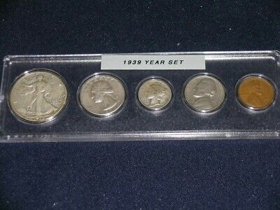 1939 Vintage Circulated Year Set - Nice 5-Coin set