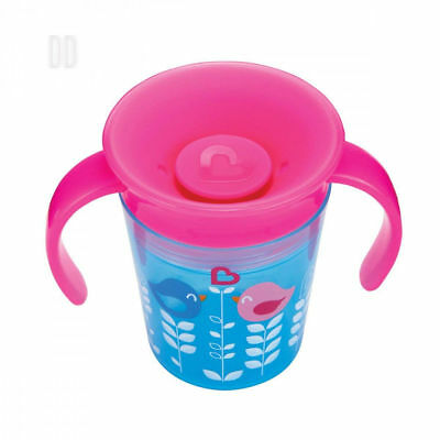 Munchkin Miracle 360 Degrees Deco Trainer Cup, 6 oz/177 ml, Blue Bird Pink