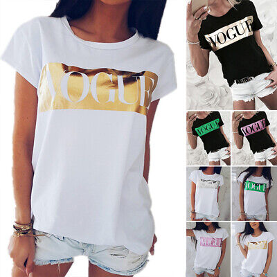 Ladies Womens Vogue Print Cotton Casual Cropped Short Sleeve T Shirt Top Blouse