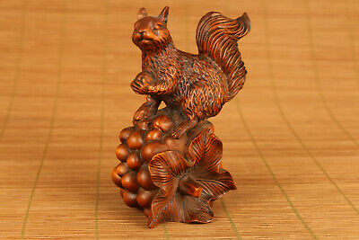 Antique chinese old boxwood hand carved squirrel statue figure collectable