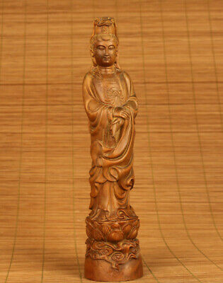 Antique chinese old boxwood buddha statue figure collectable blessing decoration