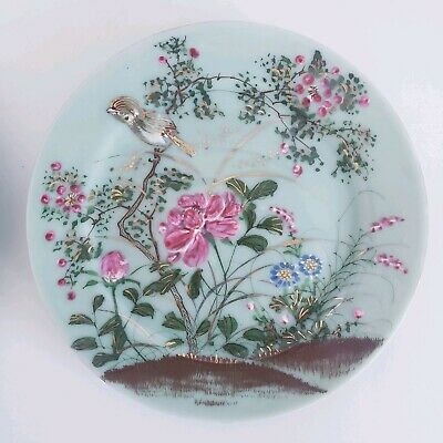 """Antique 19th Chinese Celadon Famille Rose Plates Dish Porcelain W/ Mark 7 1/4"""""""