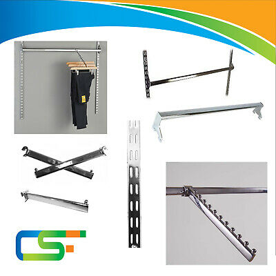 New Twin Slot Chrome Upright Wall Display System Clothes Shop Retail Store