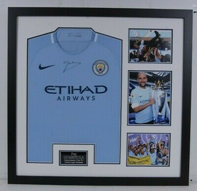 Pep Guardiola SIGNED Manchester CITY Premier LEAGUE WINNER JERSEY AFTAL COA (B)