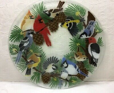 Peggy Karr Fused Art Glass Plate - Birds, 11 Inch, Signed, Beautiful!!