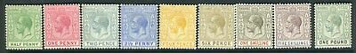 BAHAMAS-1912-19 ½d to £1.  A lightly mounted mint complete set Sg 81-89