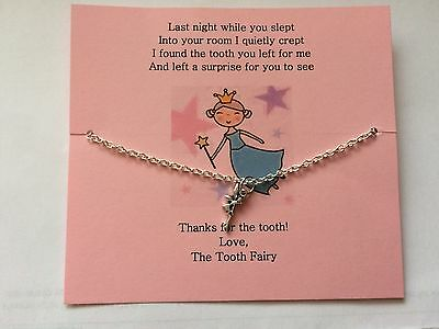 """Gift From The Tooth Fairy - Silver Necklace On 14"""" Chain With Fairy Charm"""