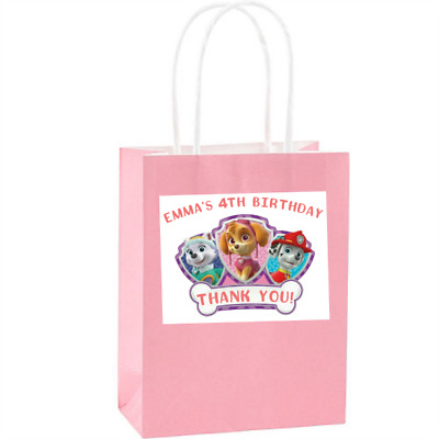 9 Personalized Paw Patrol Themed Stickers Goody Bag Labels Birthday Party Favors