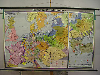 Schulwandkarte Wall Map Europa in the 14.jahrhundert 14.century 203x133 1969