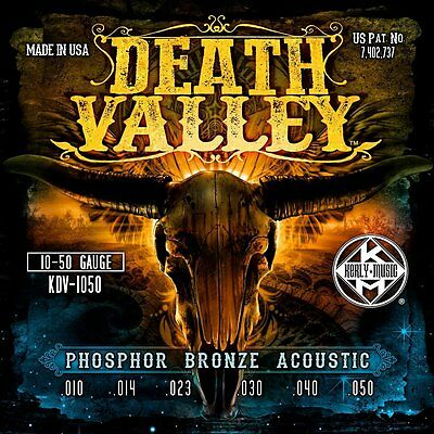 NEW Death Valley Acoustic Guitar Strings by Kerly. Made in the USA 10, 11 or 12s