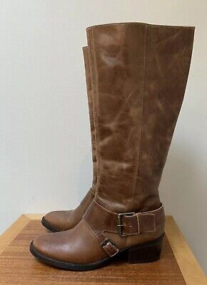 711bd3fb3 Matisse TENNESSEE Distressed Brown Leather Riding Equestrian Boots BRAZIL  size 9