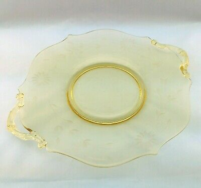 Vintage 1930's Yellow Topaz Depression Glass Lancaster Jubilee Cake Plate