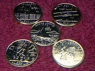 24K 5 GOLD PLATED STATE QUARTERS 2001-P uncirculated #3