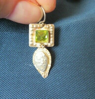 """Hammered Sterling Silver Hand-Crafted with Citrine Stone & Signed  3/4"""""""" Drop"""