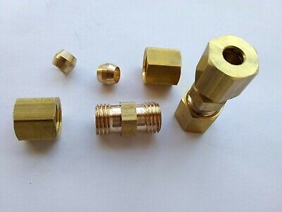 "(50) 3/16"" x 3/16"" Brass Compression Union Fittings for fluid fuel oil gas air"