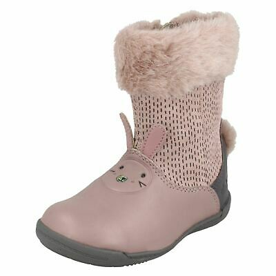 Girls Infants Clarks Iva Time Fst Casual Shoes Long Boots Zip Warm Winter Size