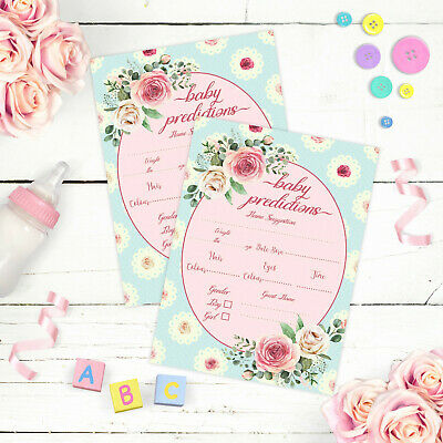Baby Shower Games Shabby Chic Rose Baby Prediction Cards Boy/Girl Mum to Be