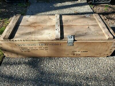 vintage military wooden ammo crate box 1 projectile 120mm ht-e m356 w/fuse