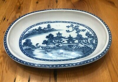 """MOTTAHEDEH Blue Canton Oval Serving Tray - 13"""" x 10"""" x 1.5"""""""