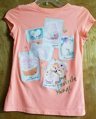 The Childrens Place Orange My Favorite Things Short Tshirt Size Large 10/12