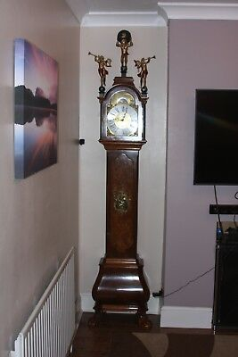 WUBA  Figured Walnut Veneered Dutch Bombase, Claw feet Floor clock