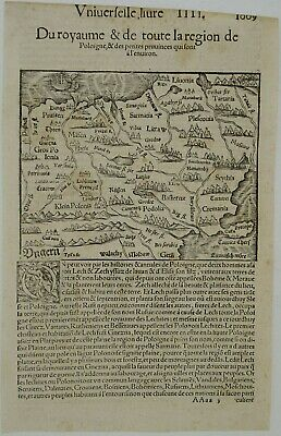 Poland Ca. 1550 Original Antique Map Lithuania Russia Belarus Ukraine Munster